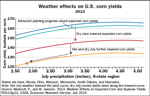 Weather effects on U.S. corn yields, 2012