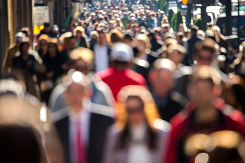 crowded urban area