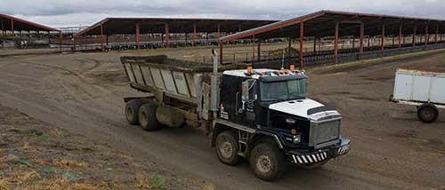 truck hauling manure