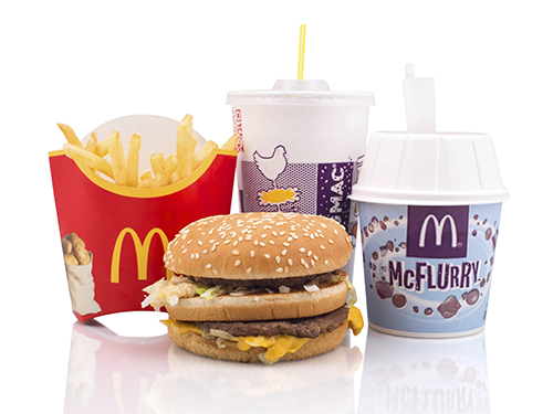 McDonalds cheeseburger and McFlurry