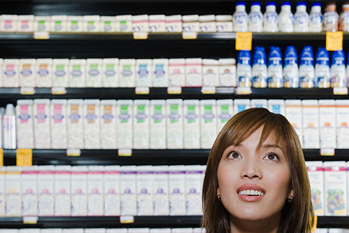 Chinese woman with milk choices