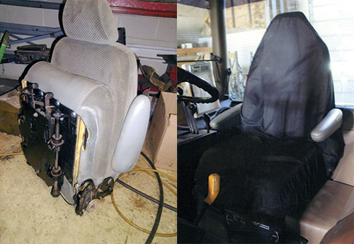 recycled seat for better tractor ride