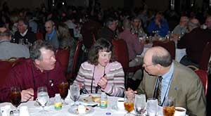 chatting at a banquet